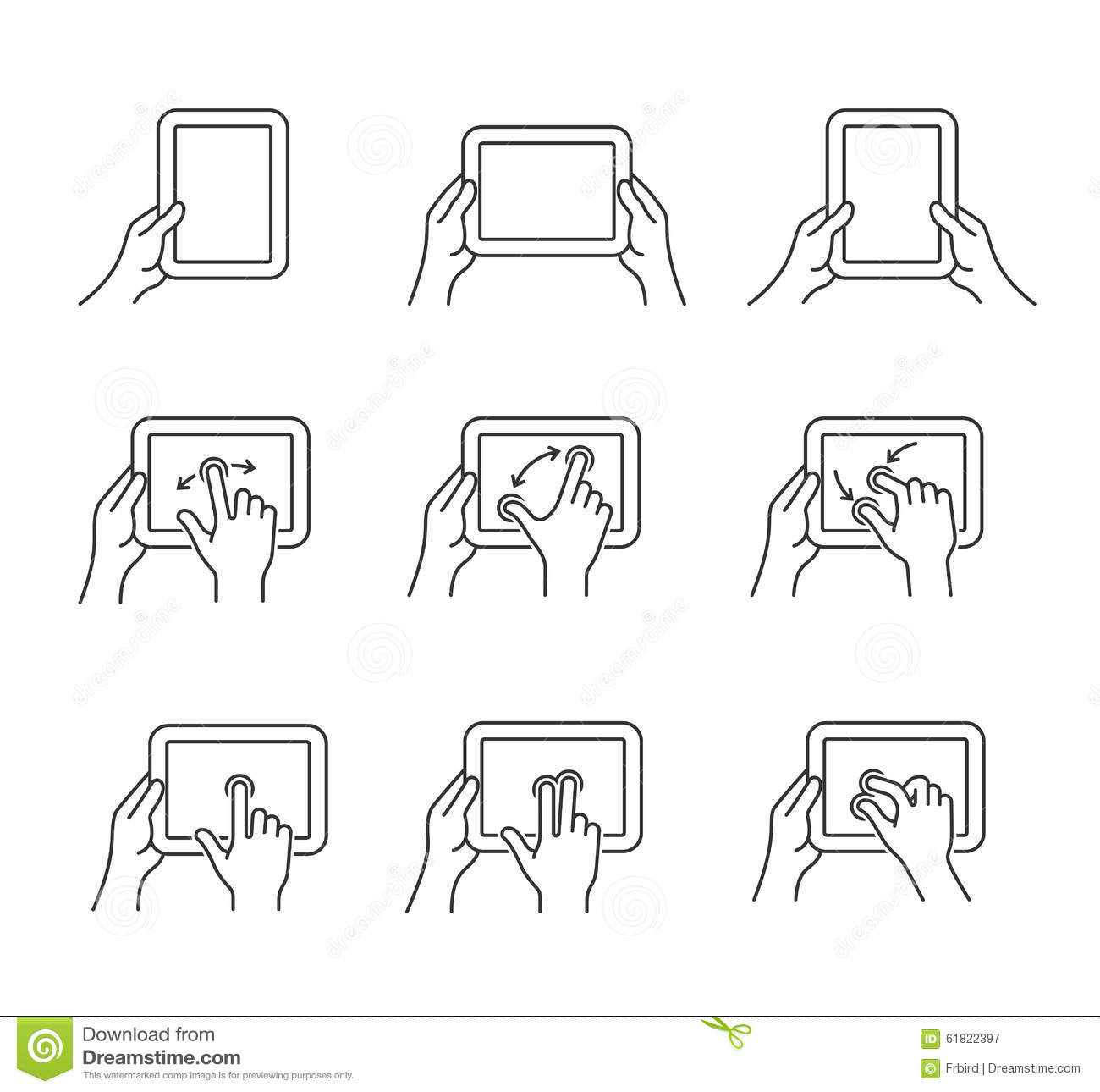 Tablet gesture icons stock illustration. Illustration of