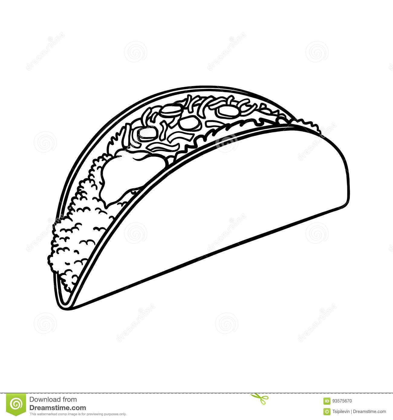 Taco outline illustration stock illustration. Image of