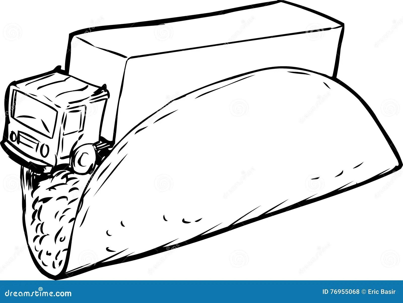 Taco Truck Outline Sketch Stock Illustration Illustration