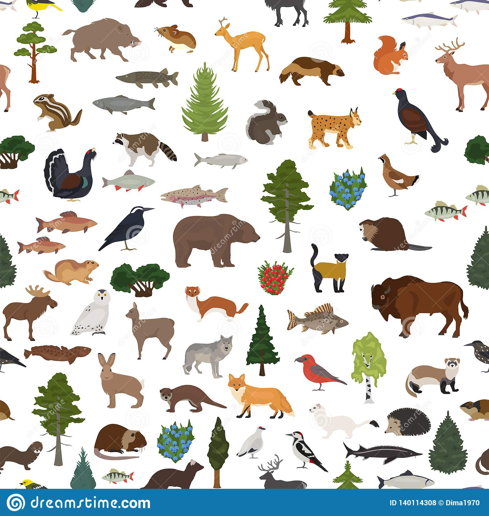 Species adapted to cold respire less (use. Taiga Biome Boreal Snow Forest Seamless Pattern Terrestrial Ecosystem World Map Animals Birds Fish And Plants Design Stock Vector Illustration Of Animal Cottonwood 140114308
