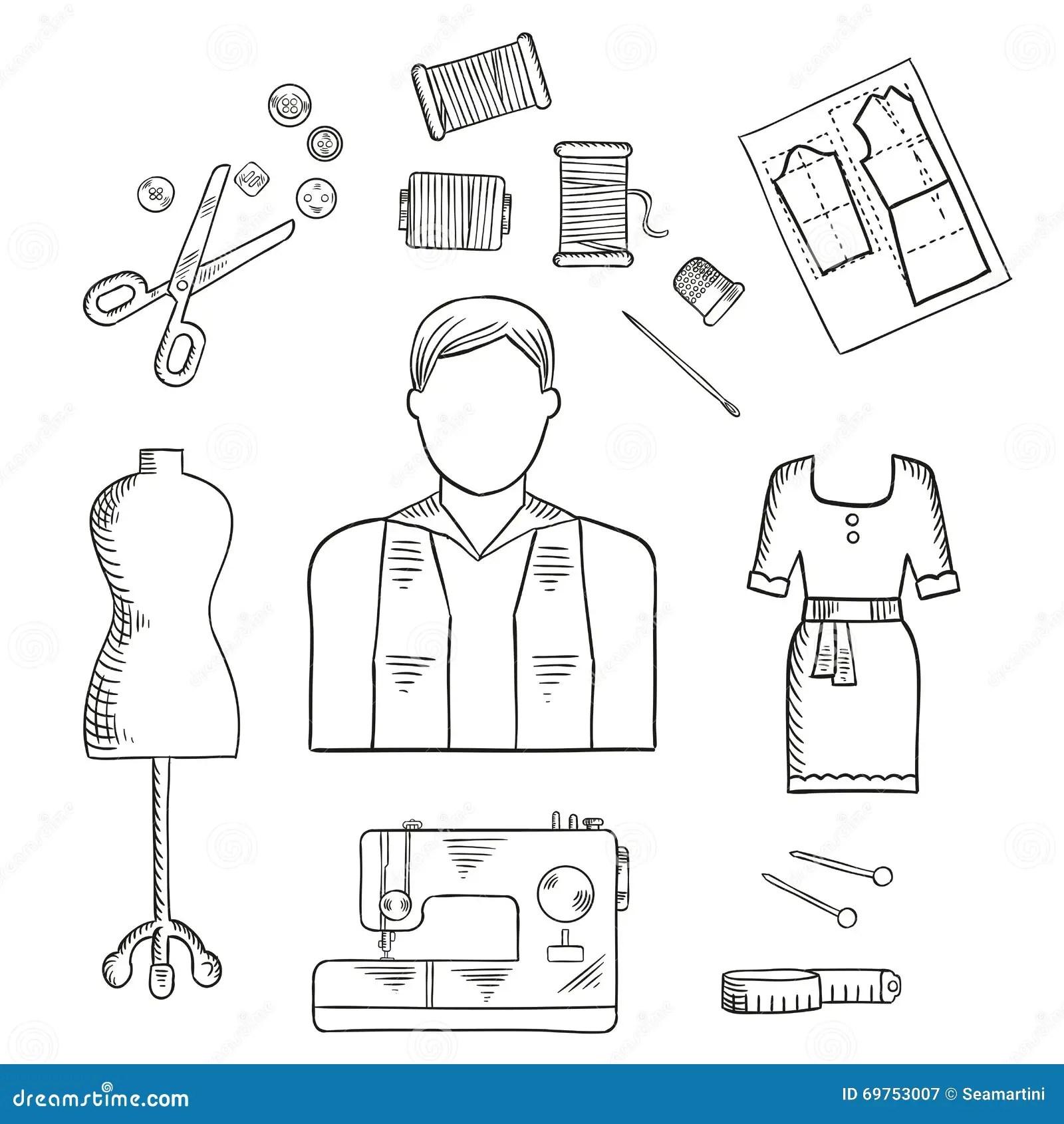 Tailor Or Fashion Designer Profession Sketch Icon Stock