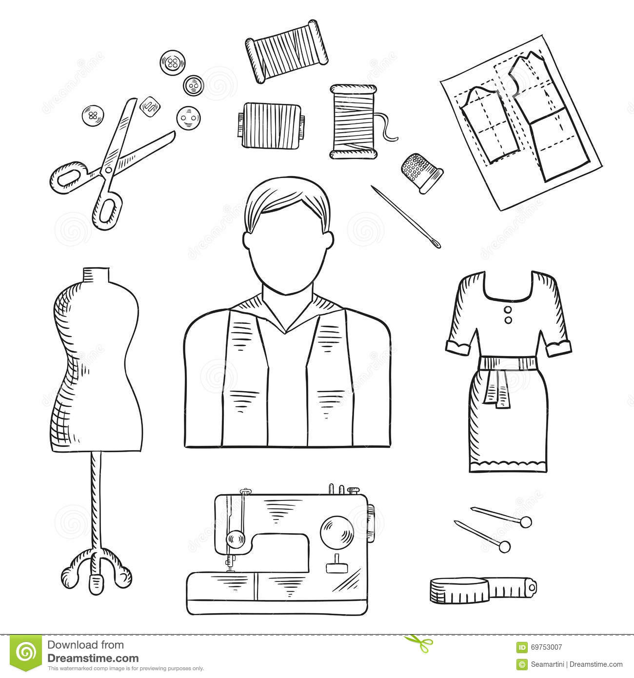 hight resolution of tailor or fashion designer profession sketch icon stock house drawing diagram hand drawing diagram