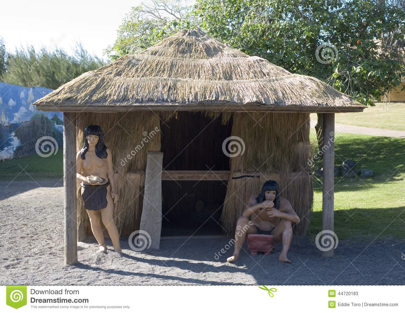 Taino Indian Figures And Hut Editorial Stock Photo