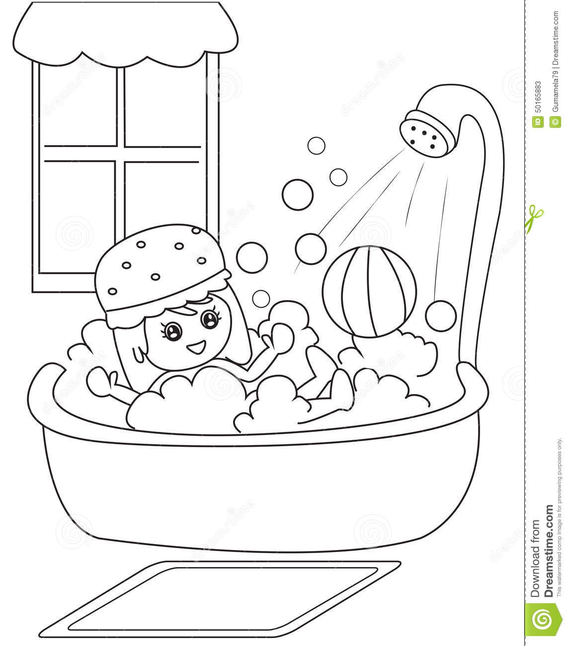 Taking A Bath Coloring Page Stock Illustration