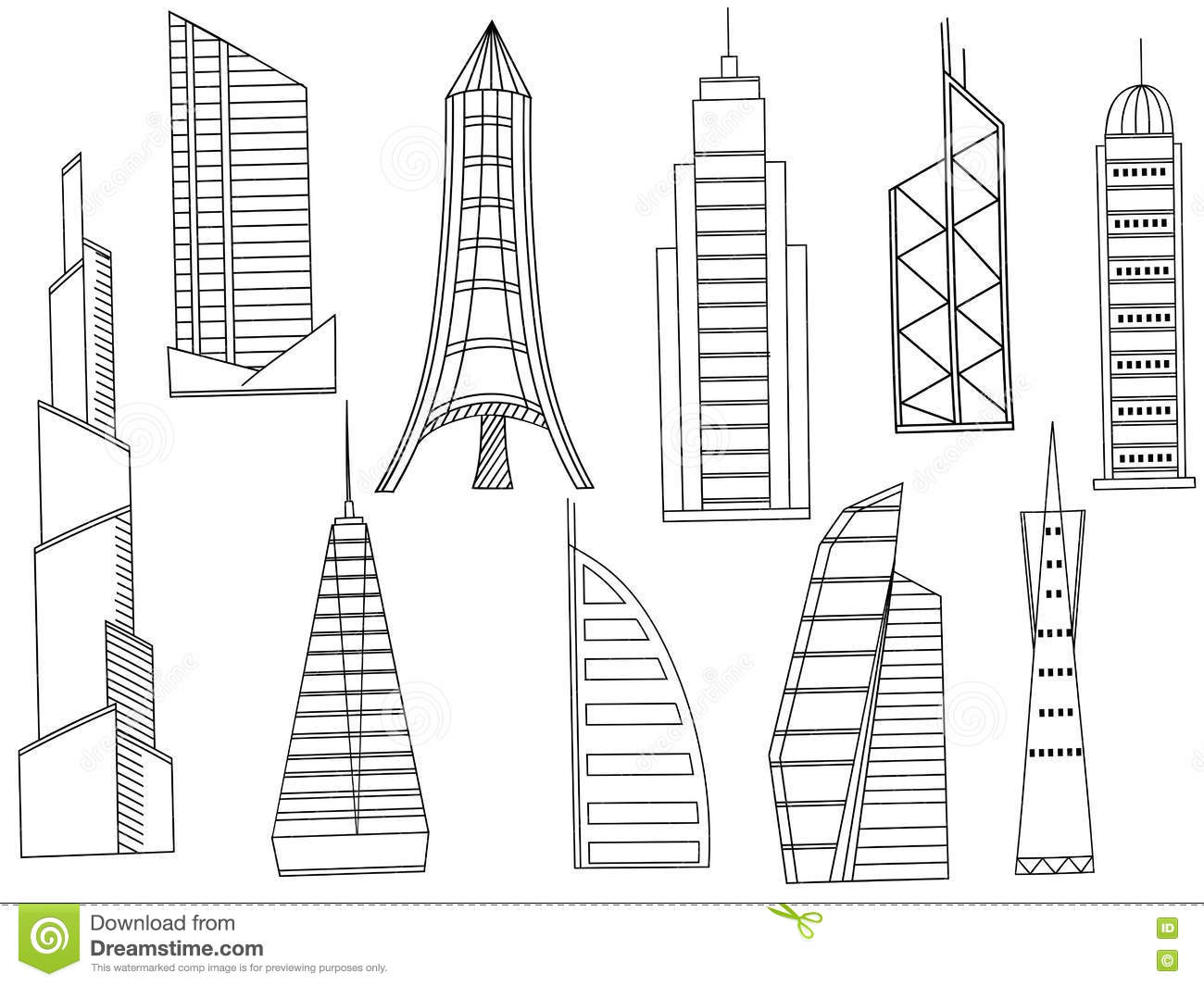 Tall Buildings Coloring Book Vector Cartoon Vector