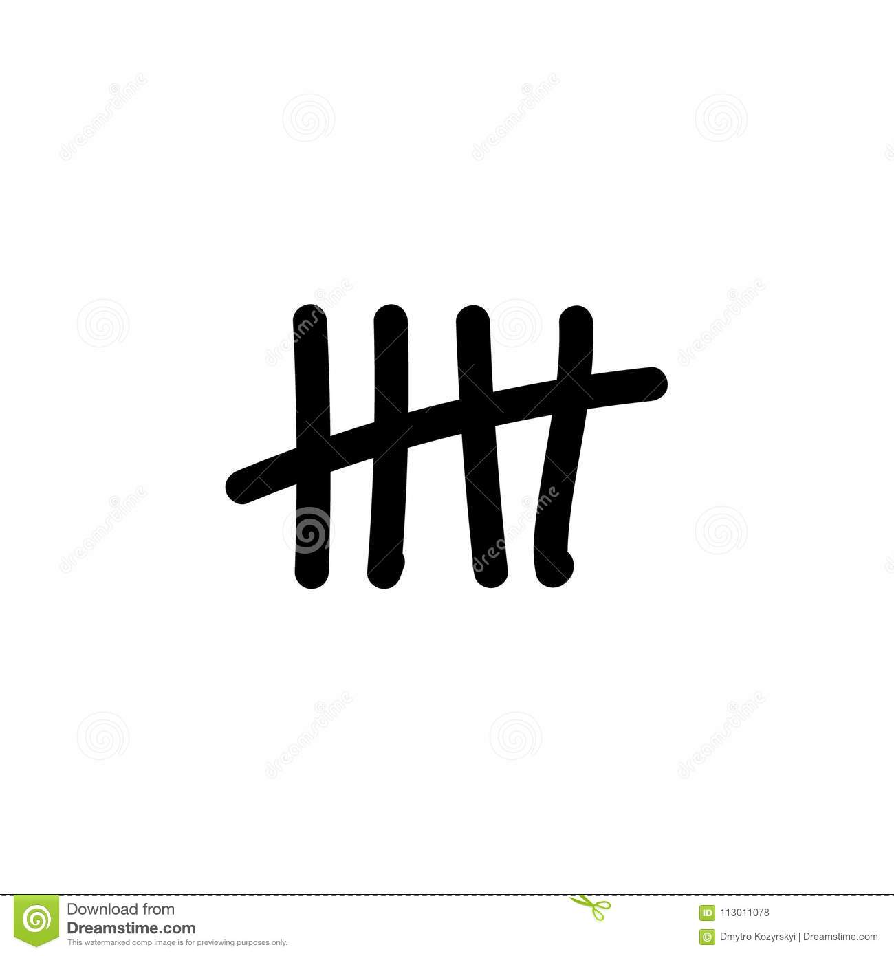 Tally Marks Count Flat Design Vector Illustration On