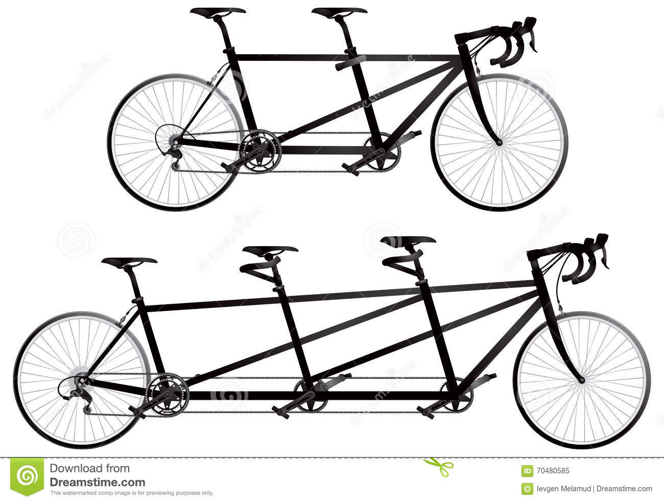 Tandem Bicycle Twin And Triplet Cartoon Vector