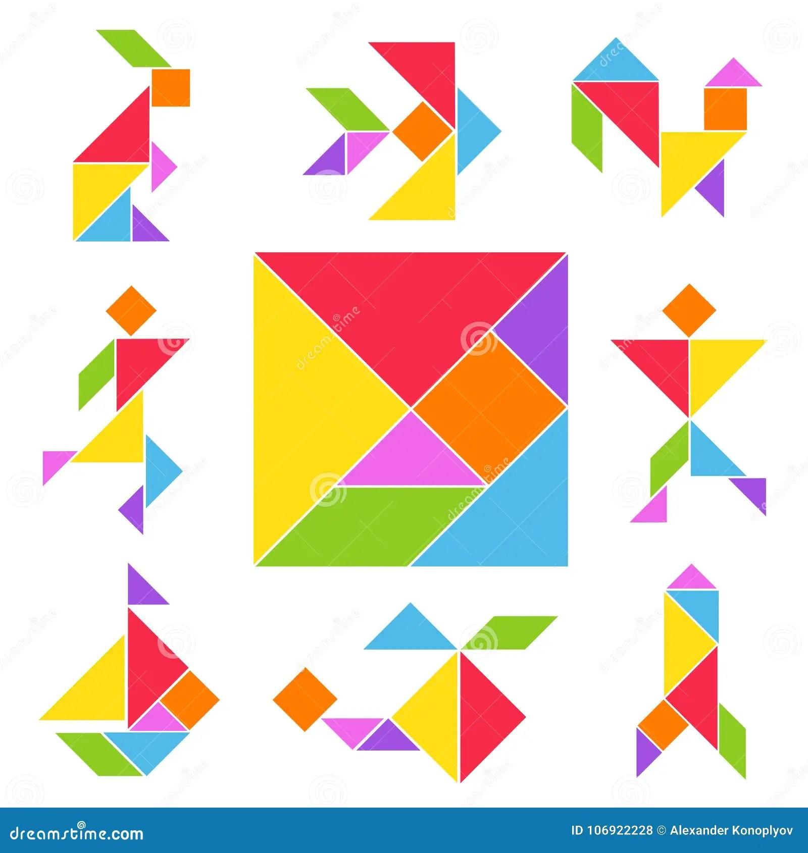 Tangram Gry Set Ilustracja Wektor Ilustracja Z O Onej Z