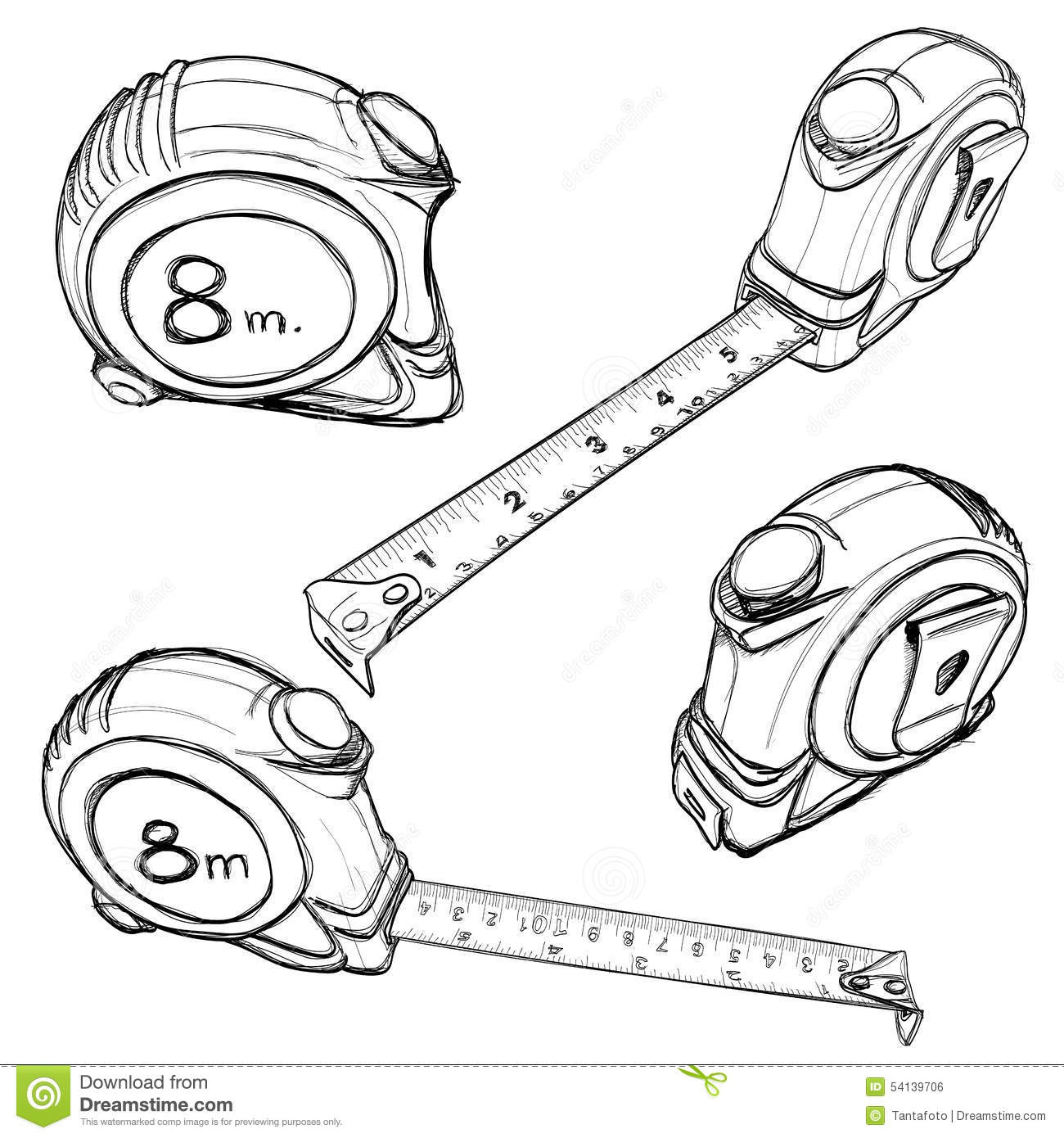 Tape Measure hand drawing stock vector. Illustration of