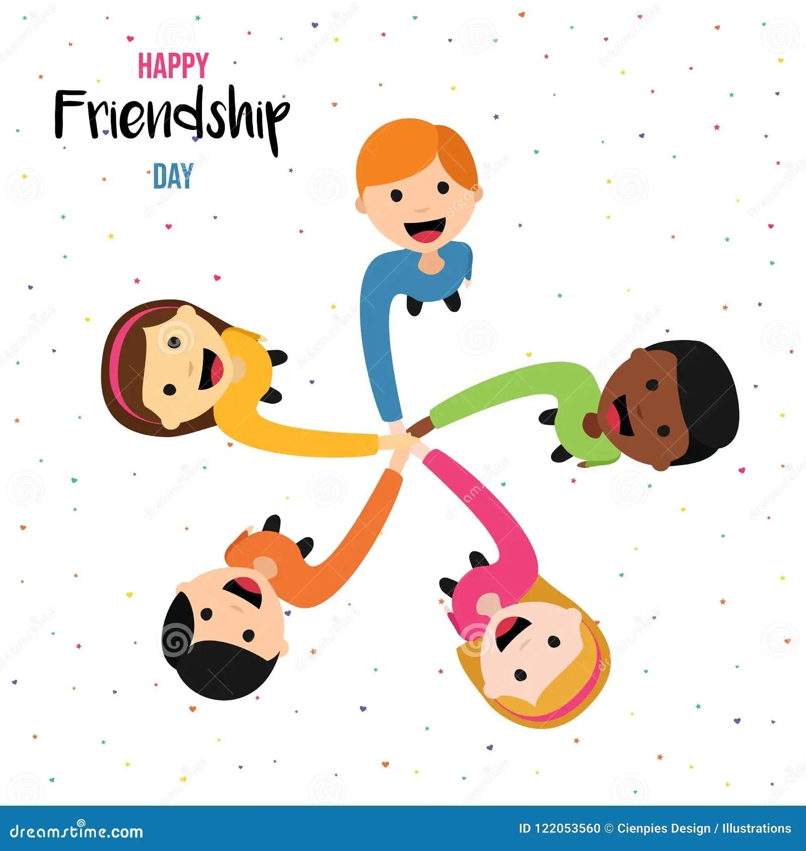 Tarjeta Del Dia De La Amistad De Los Amigos Felices Del
