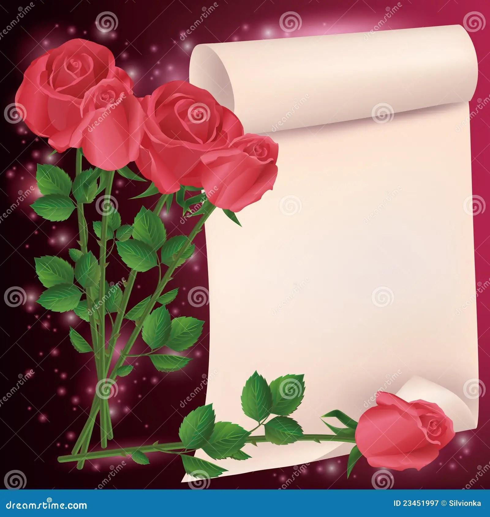 Tarjeta Del Saludo O De La Invitación Con Las Rosas