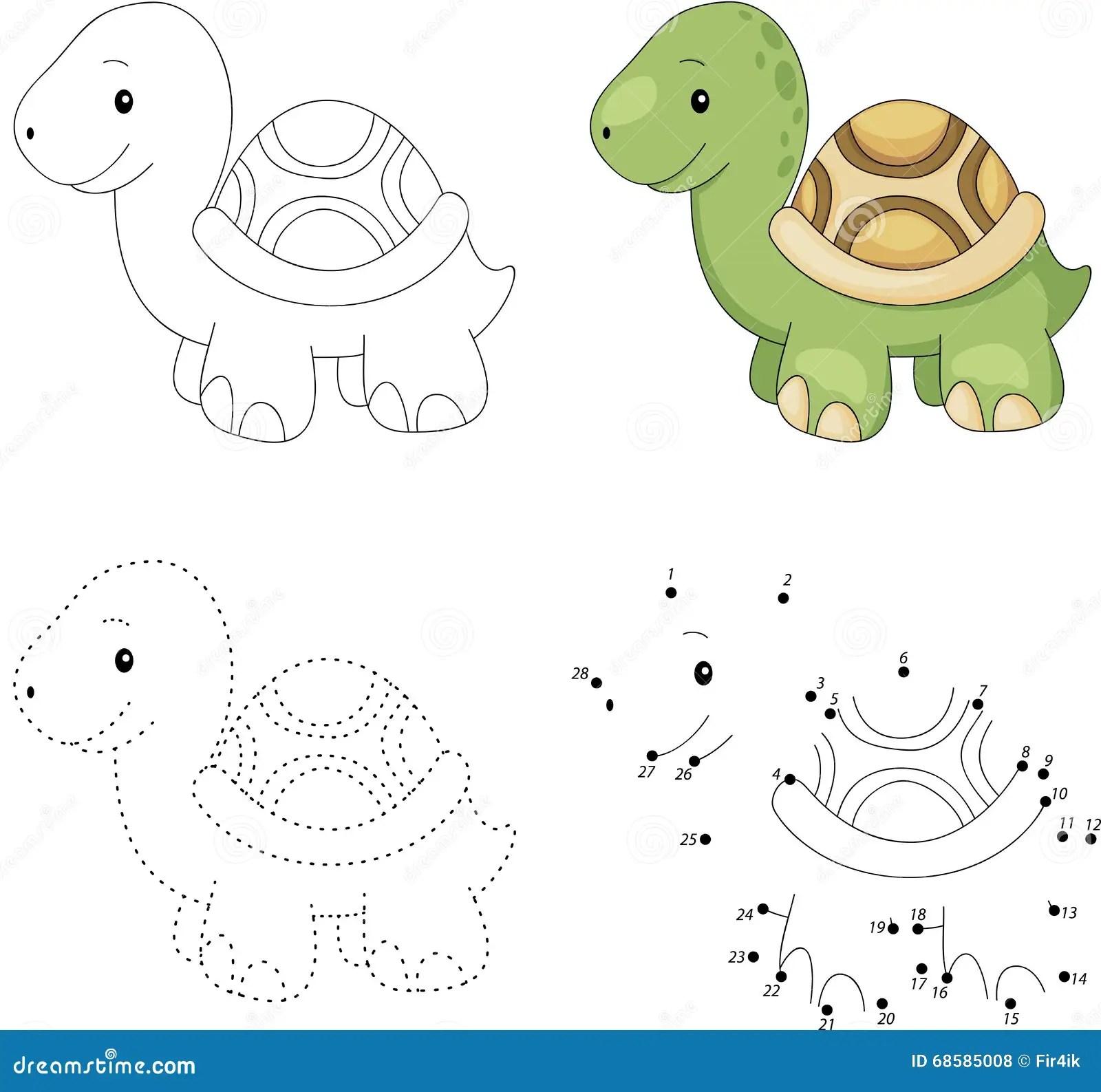Tartaruga Dos Desenhos Animados Ponto Para Pontilhar O