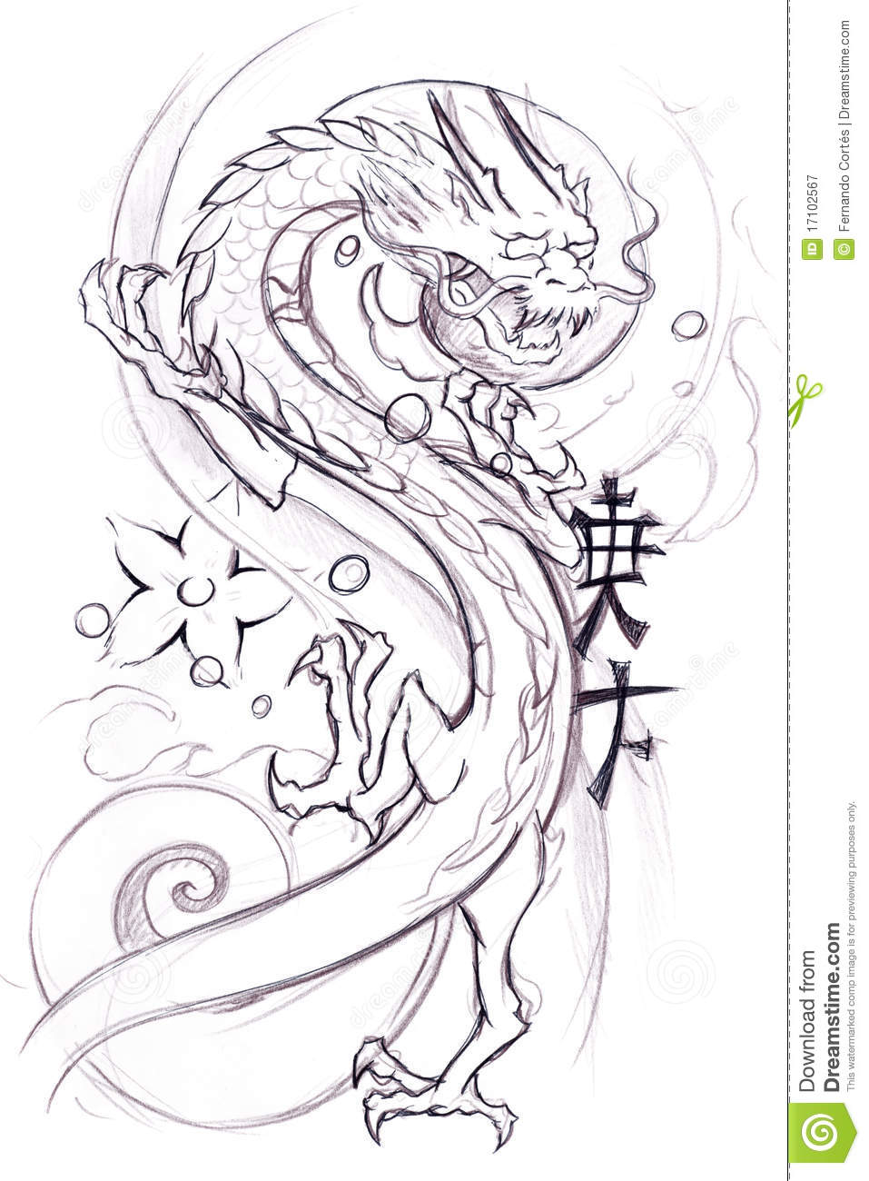How To Draw A Japanese Dragon : japanese, dragon, Tattoo, Sketch, Japanese, Dragon, Stock, Illustration, Elements,, Ornament:, 17102567
