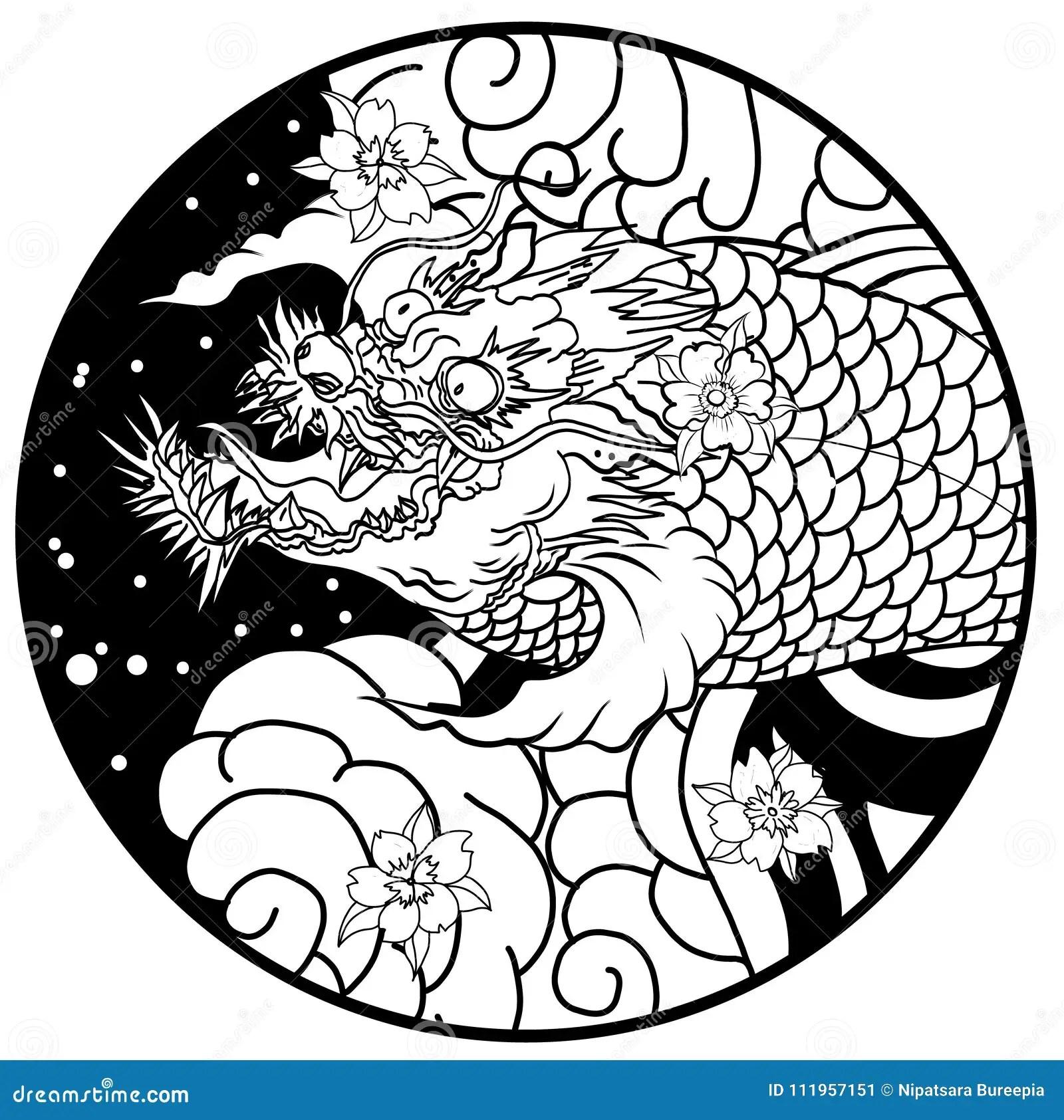 Hand Drawn Koi Fish In Circle Japanese Carp Line Drawing