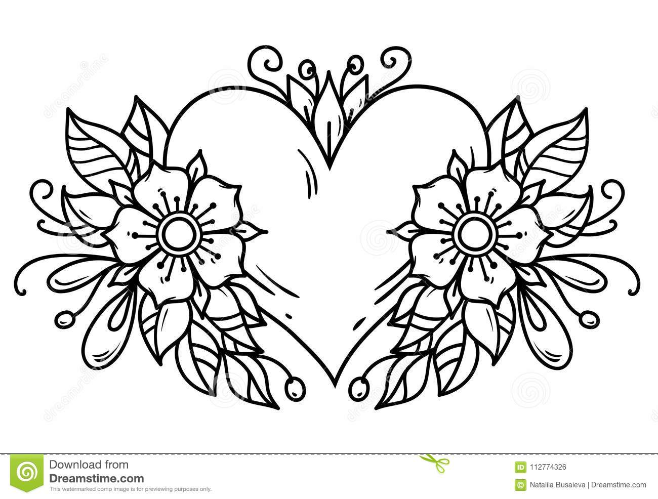 Tattoo Pink Heart Decorated Ribbon Blue Flowers Leaves
