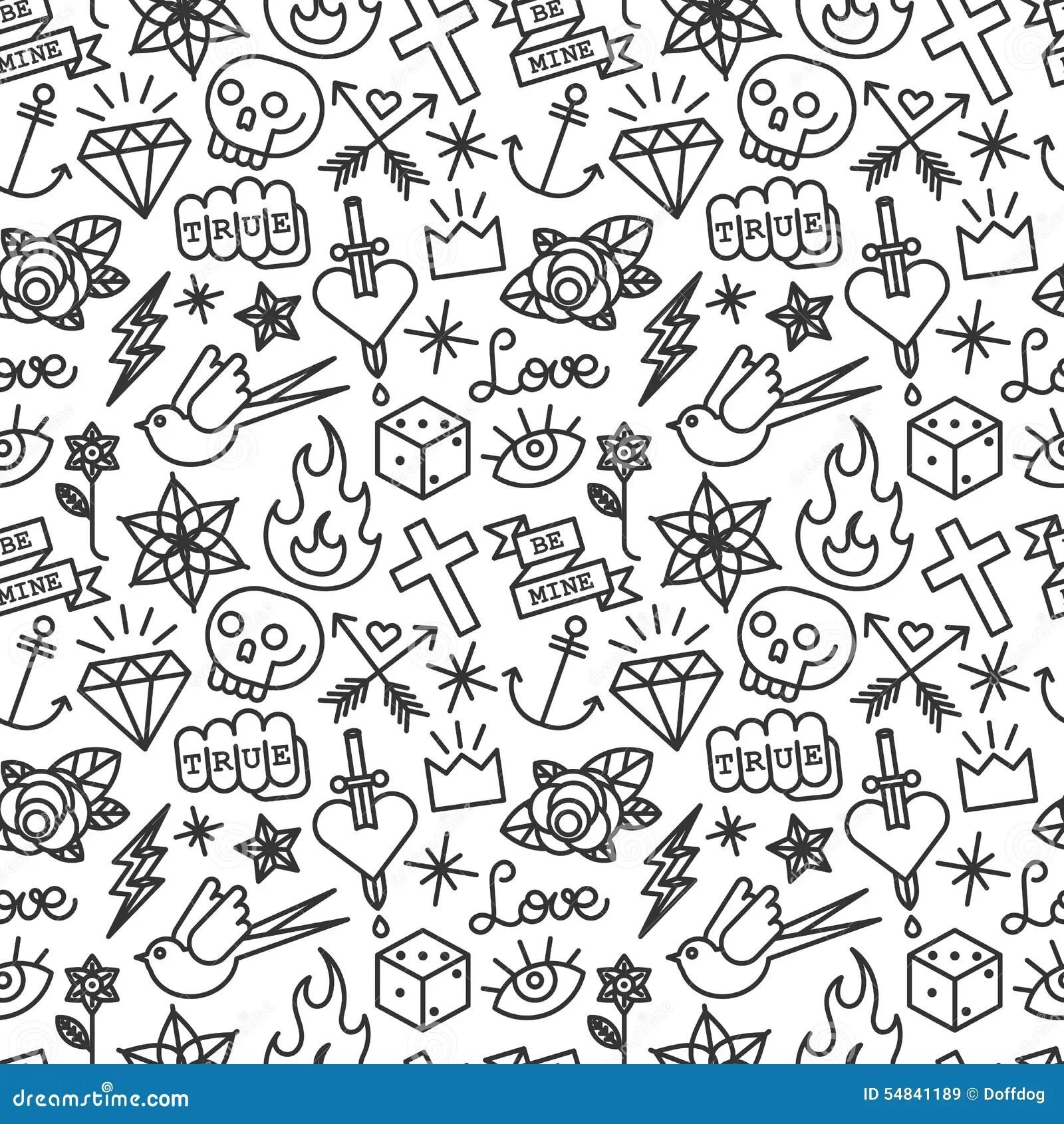 Tattoo seamless pattern stock vector. Illustration of