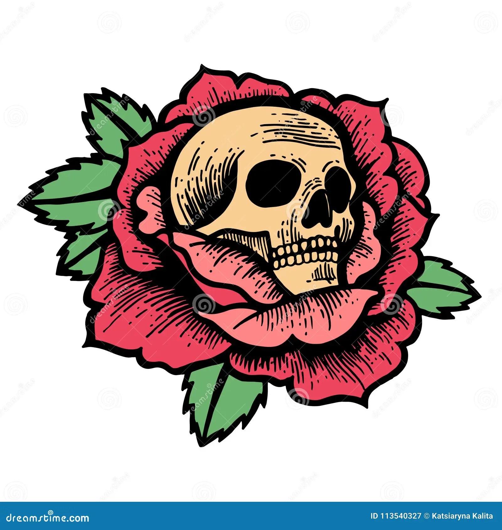 Tatuaje Color De Rosa De La Escuela Vieja Con El Cráneo Ilustración