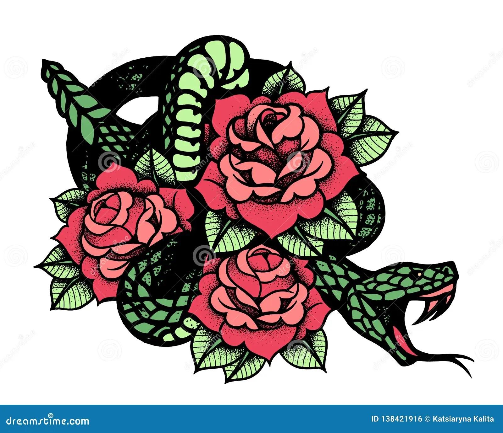 Tatuaje Con La Rosa Y La Serpiente Tinta Negra Tradicional Del