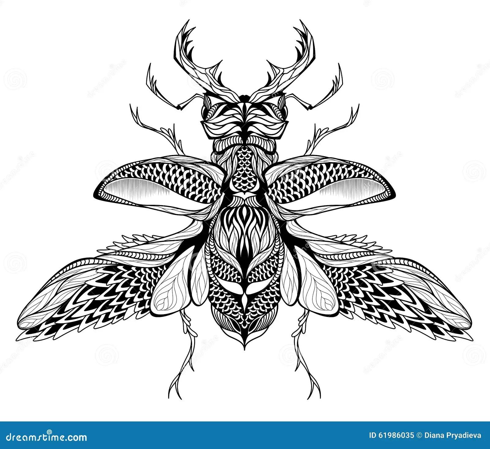 Tatuaje Del Macho Escarabajo Psicodélico Estilo Del Zentangle