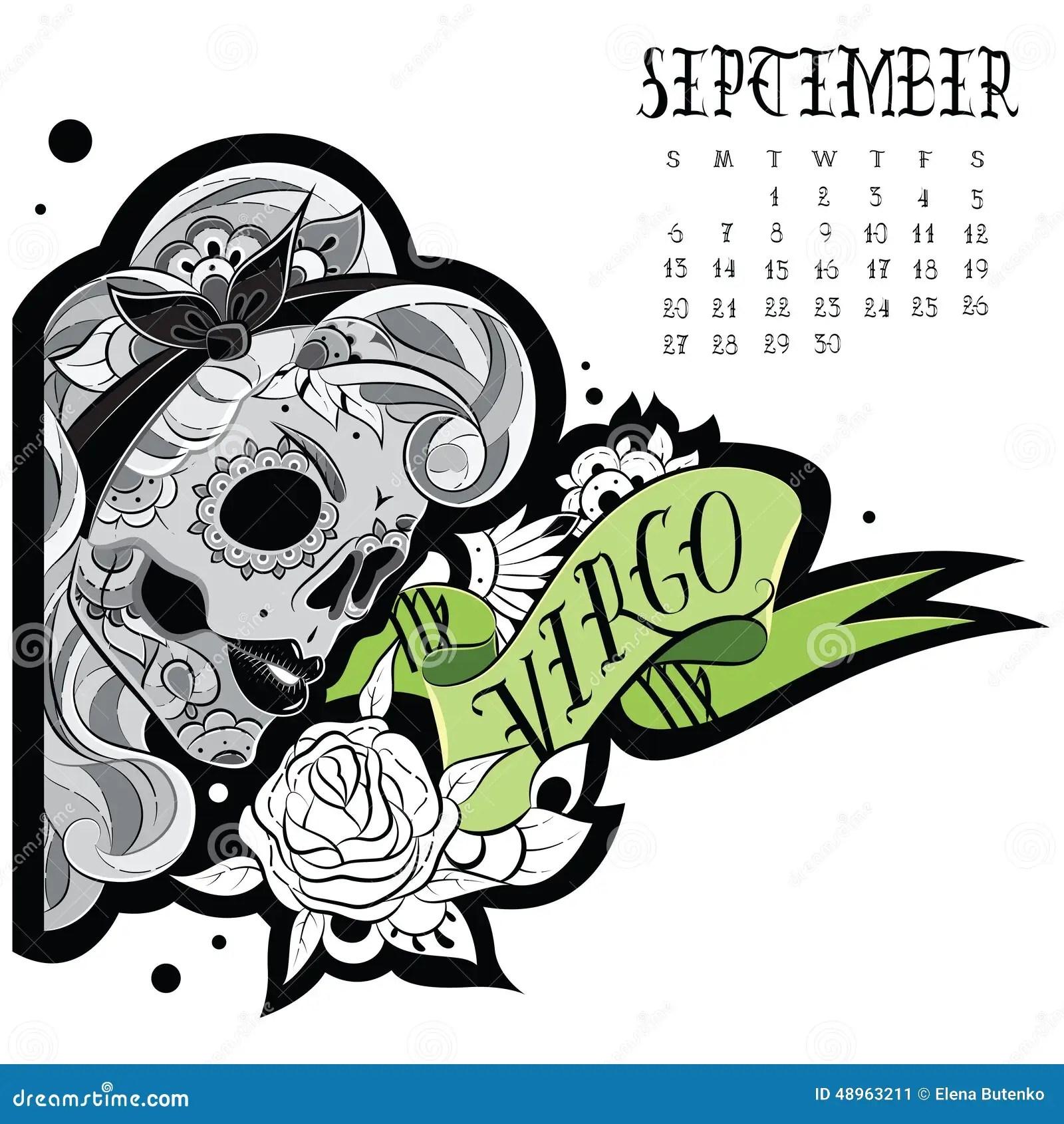 Tatuaje Del Virgo Ilustración Del Vector Ilustración De Septiembre