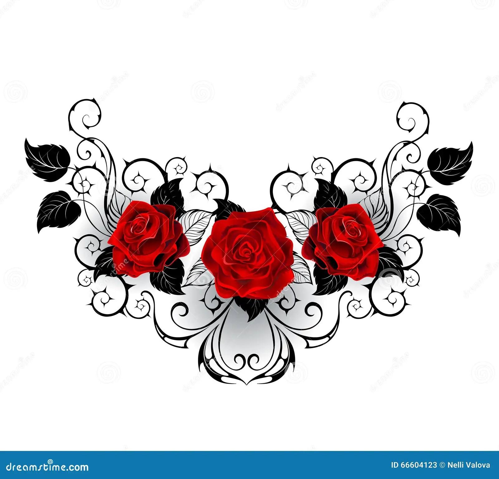 Tatuaje Simétrico De Rosas Rojas Ilustración Del Vector