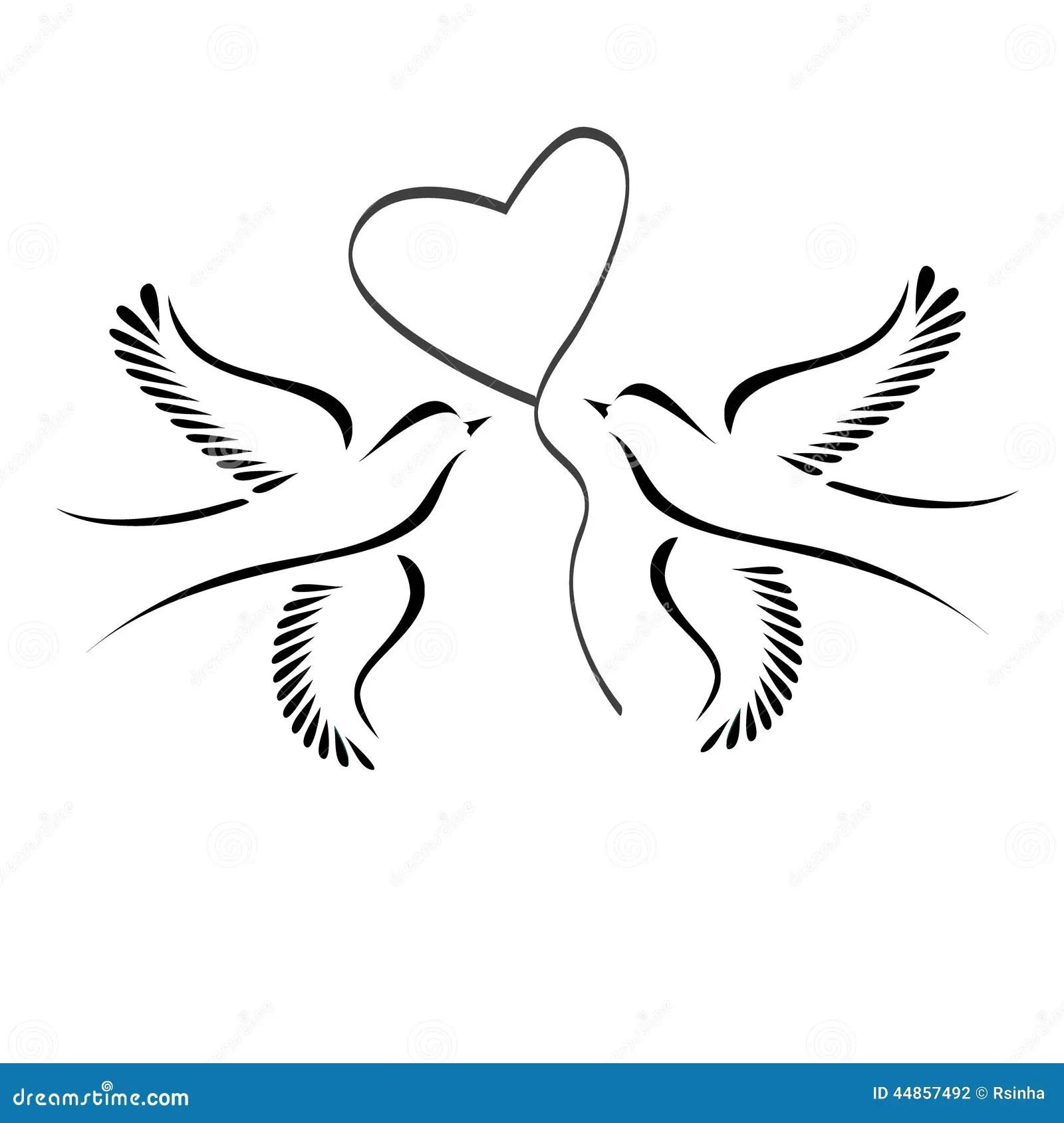 Tauben mit Herzen vektor abbildung Illustration von zeichen  44857492