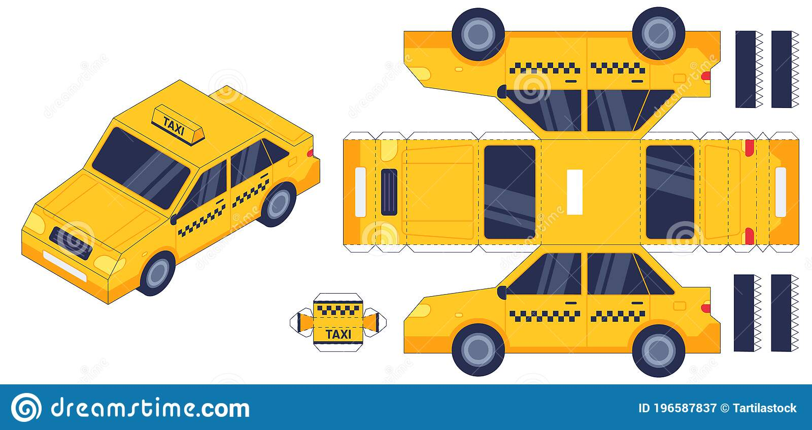 Taxi Car Paper Cut Toy Worksheet With Gaming Puzzle