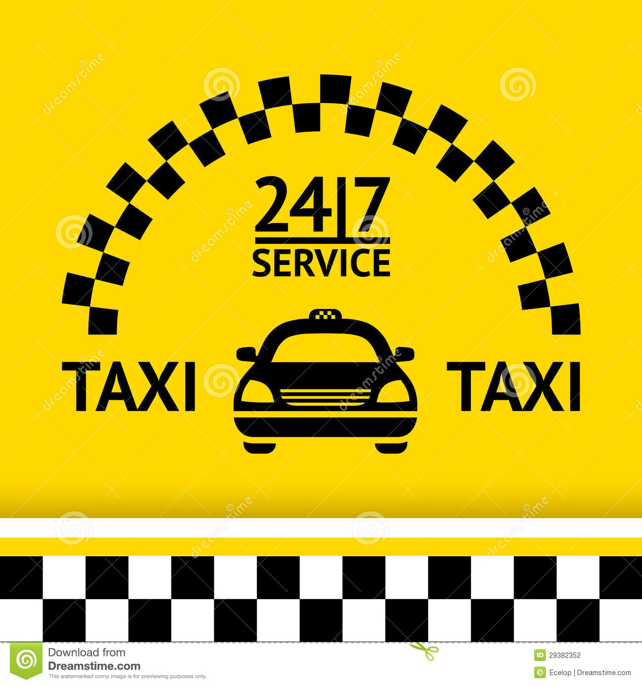 Taxi Symbol And Car On The Background Stock Photography