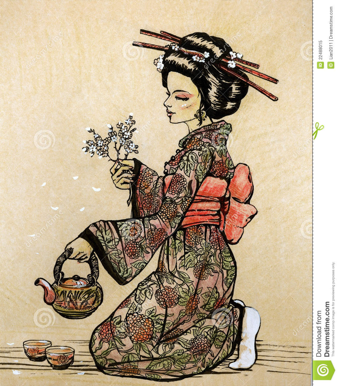 Tea Ceremony In Japanese Style Geisha With Teapot Royalty