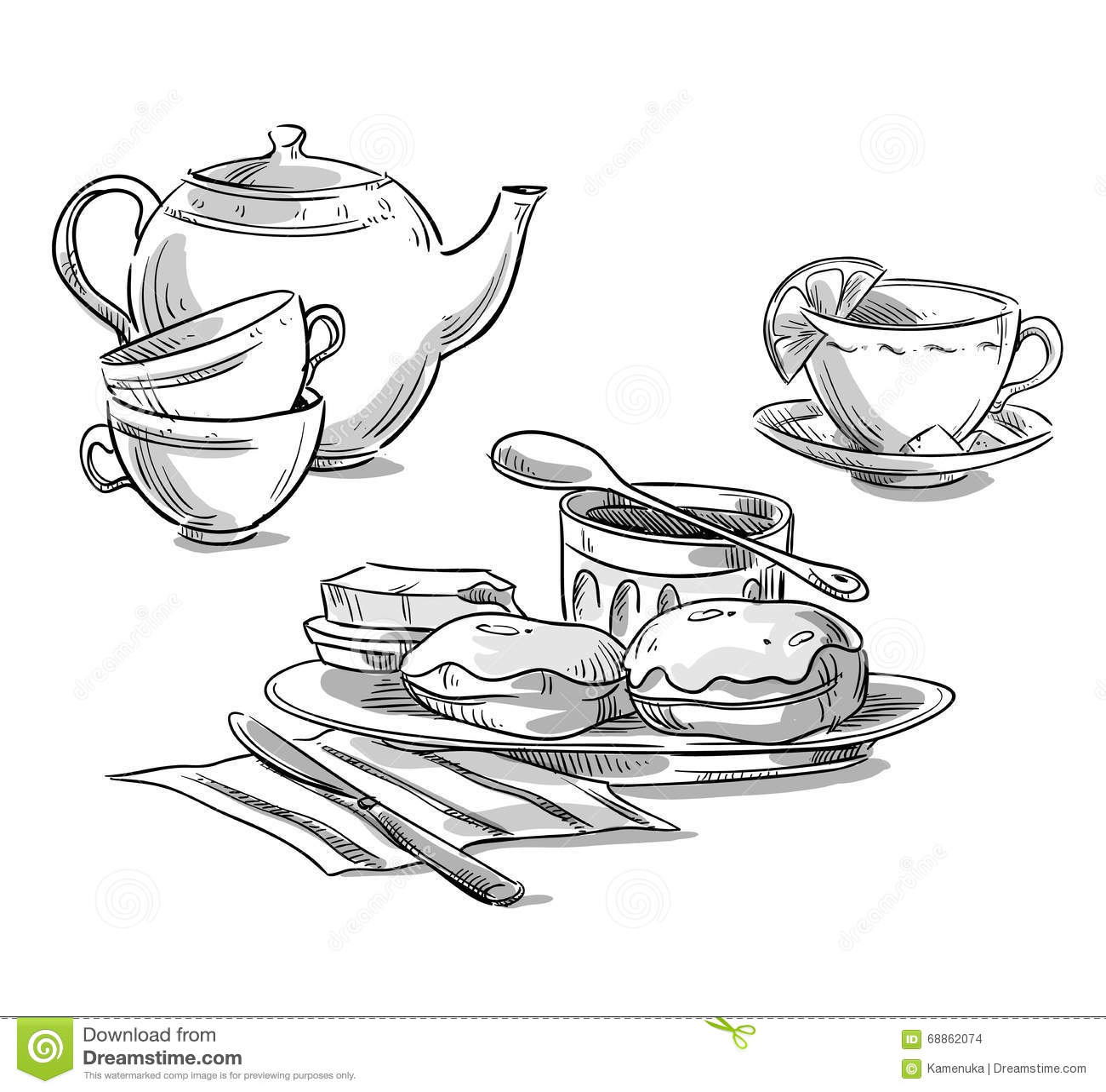 Tea Serving Tea And Scones Vector Sketch Stock Vector