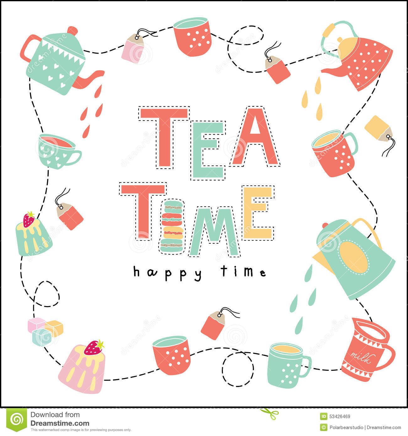Tea Time Happy Time Doodle Illustration Pastel Color