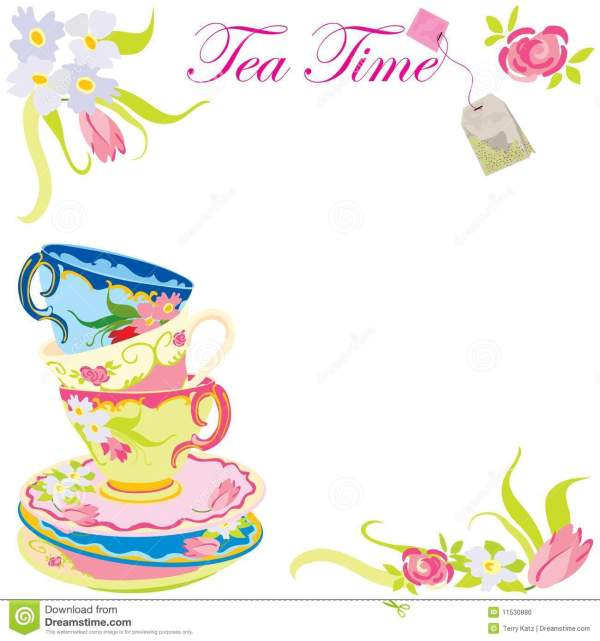 Tea Time Party Invitation. Stock Vector. Illustration Of
