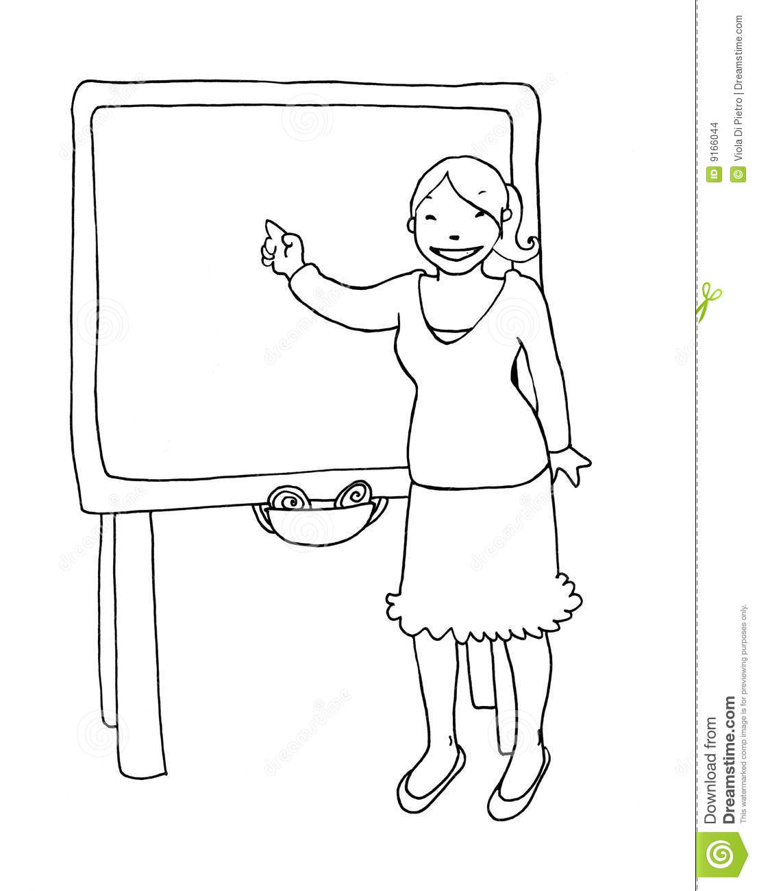 Teacher At The Blackboard Black And White Stock