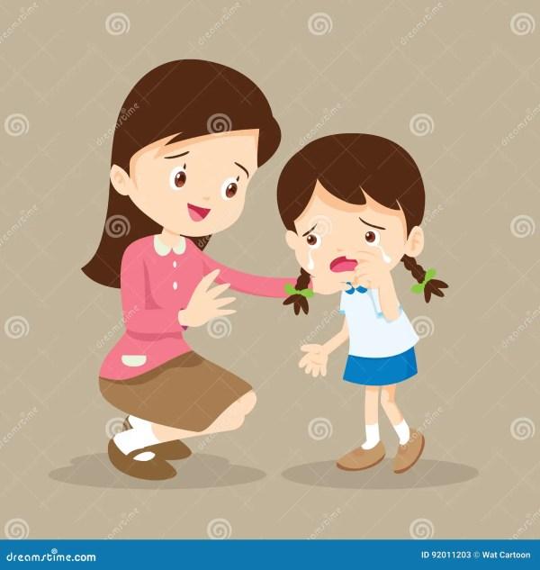 Teacher Comforting Crying Girl Stock Vector - Illustration