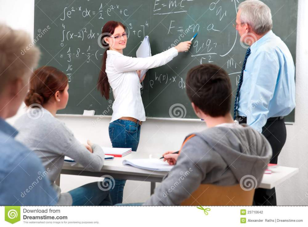 medium resolution of teacher with a group of high school students in classroom