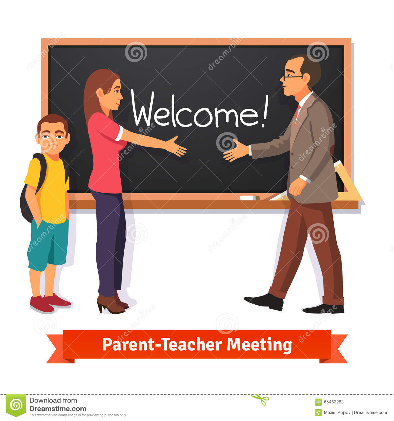 Teacher And Parent Meeting In Classroom Stock Vector