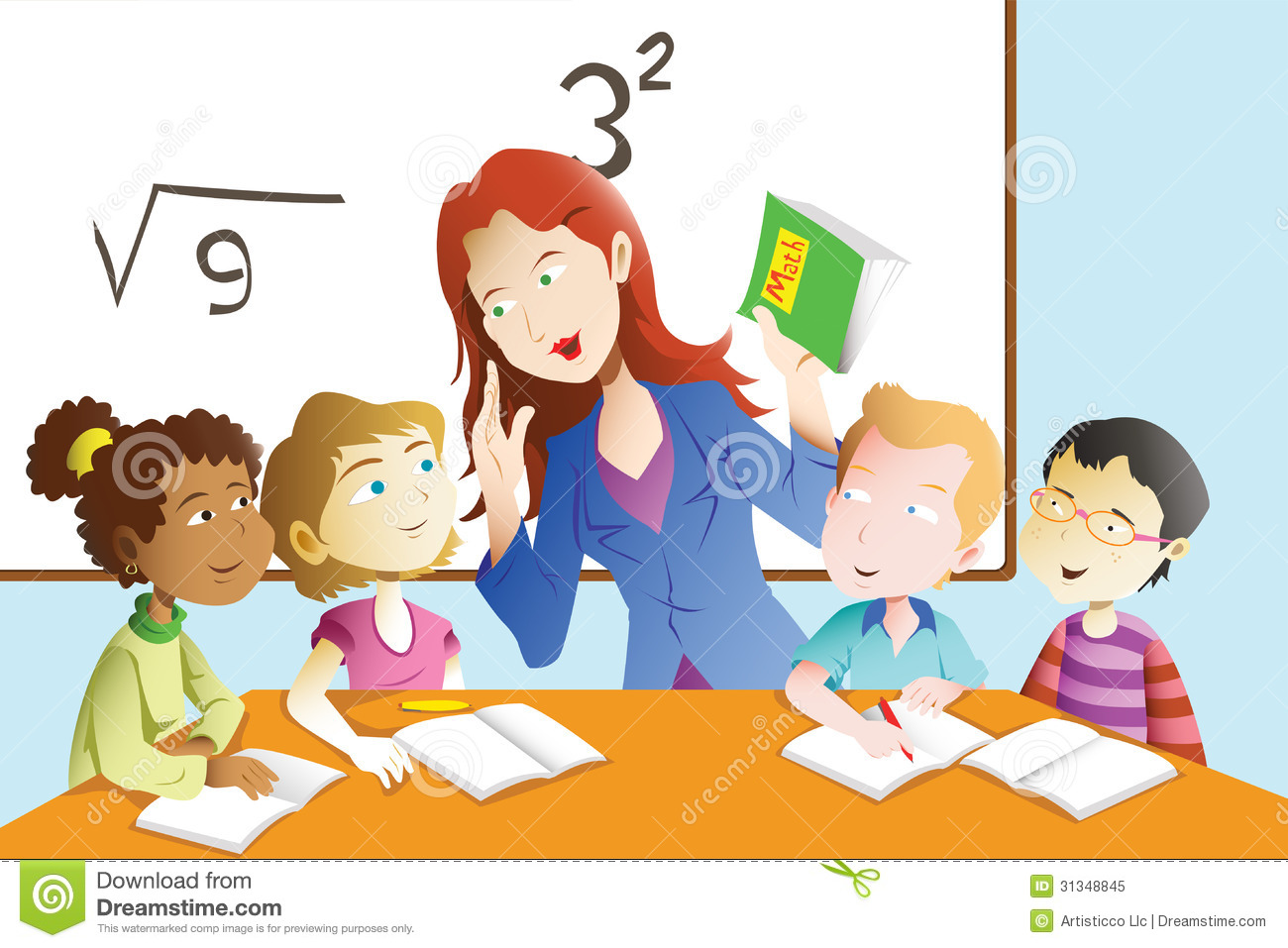 hight resolution of a vector illustration of kids studying math in classroom with teacher