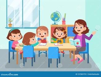 teacher student cartoon vector illustration class learning activity children isolated happy education boy