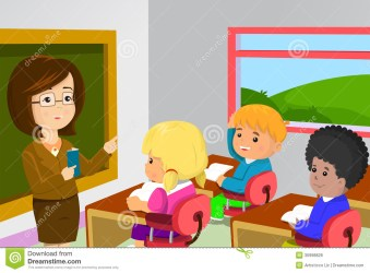 Teacher And Students In Classroom Stock Vector Illustration of drawing classmate: 30998828