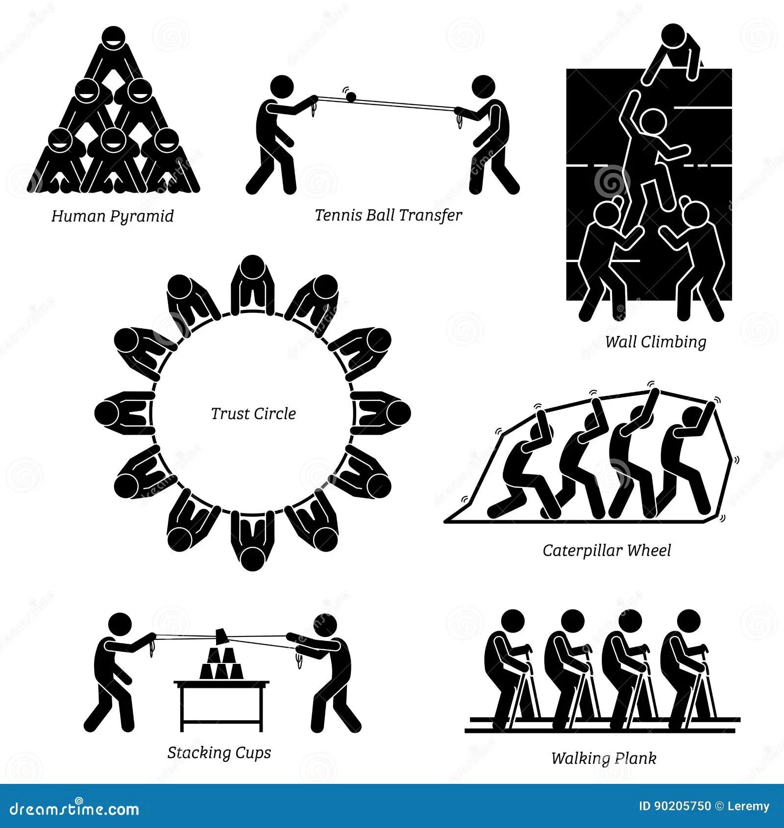 Team Building Activities. stock vector. Illustration of