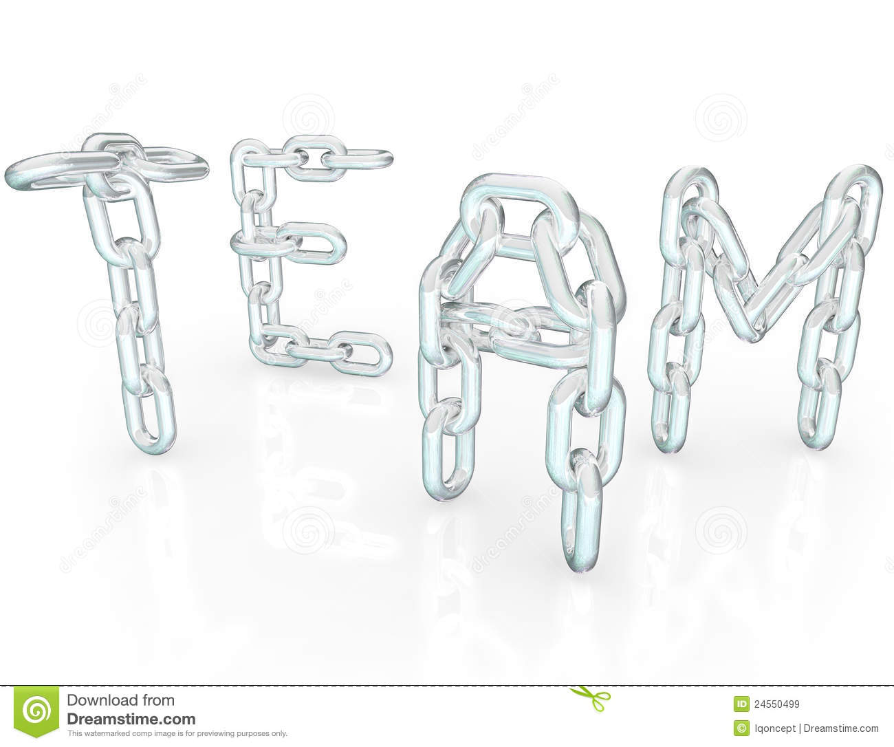 Team Word Chain Links Together Partners Royalty Free Stock