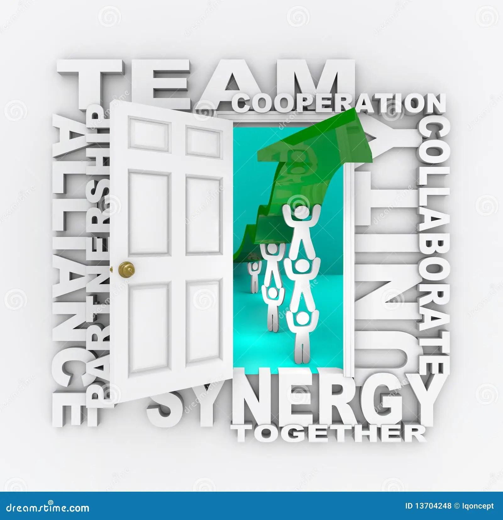 Teamwork - Open Door To Collaborative Success Stock Illustration - Illustration of people. lifting: 13704248
