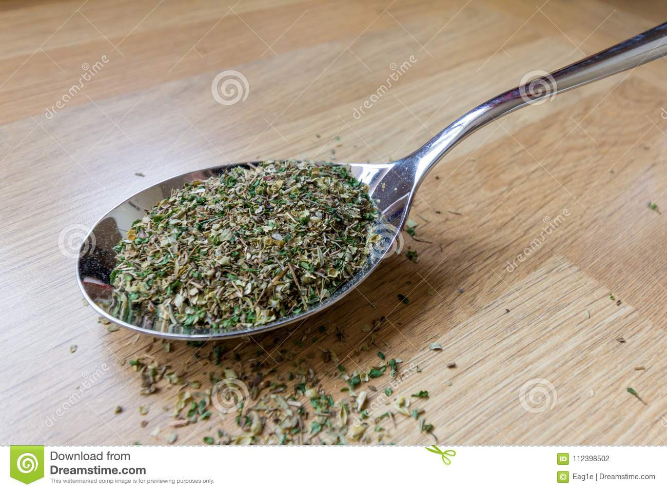 Teaspoon With Mixed Dried Herbs Stock Photo - Image of ...