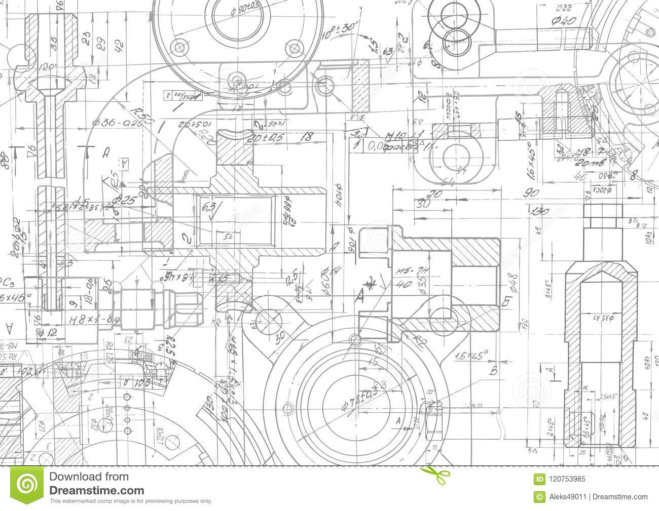 Technical Drawing Background .Mechanical Engineering