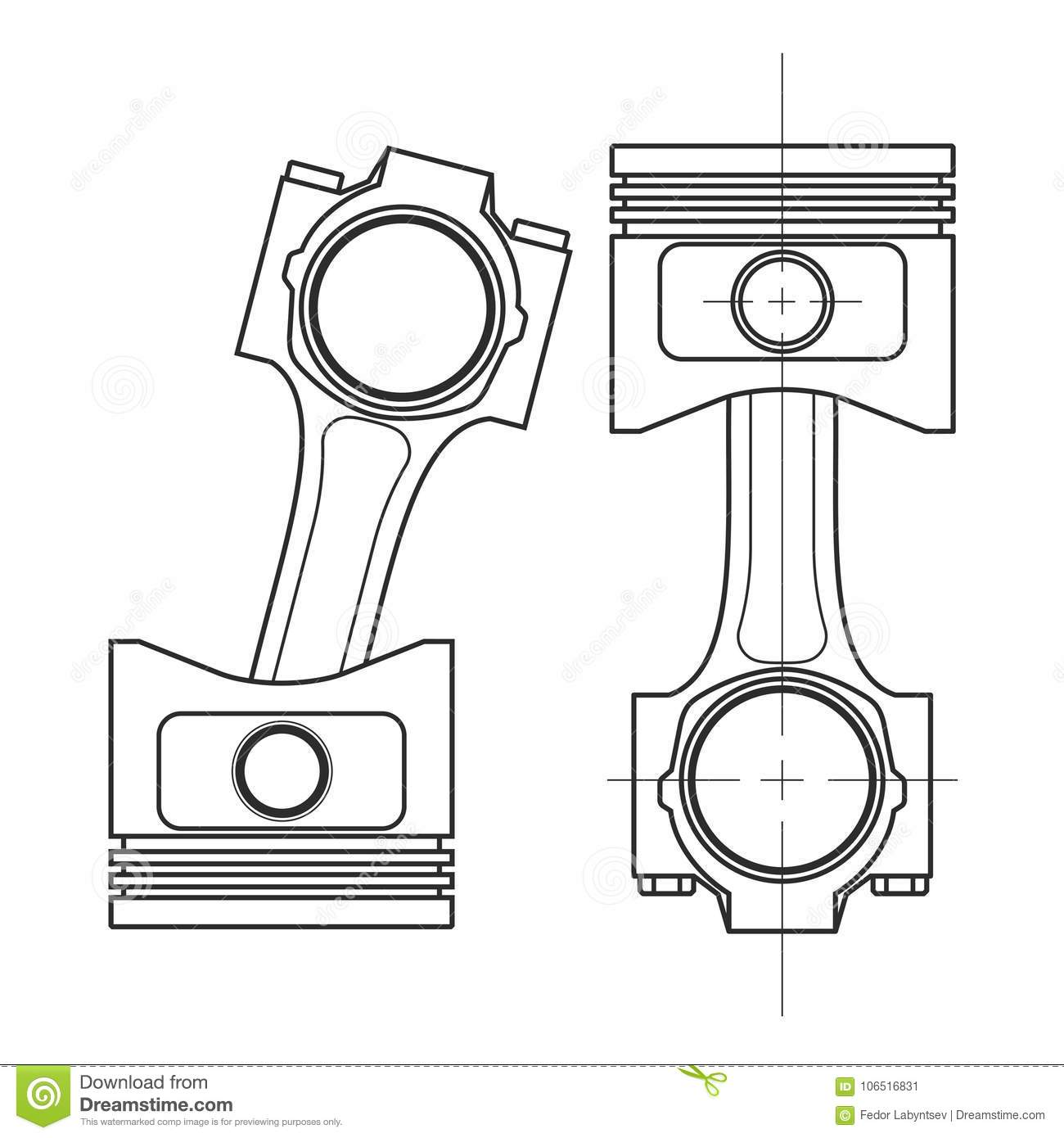 Technical Drawing Of A Piston Vector Illustration Stock