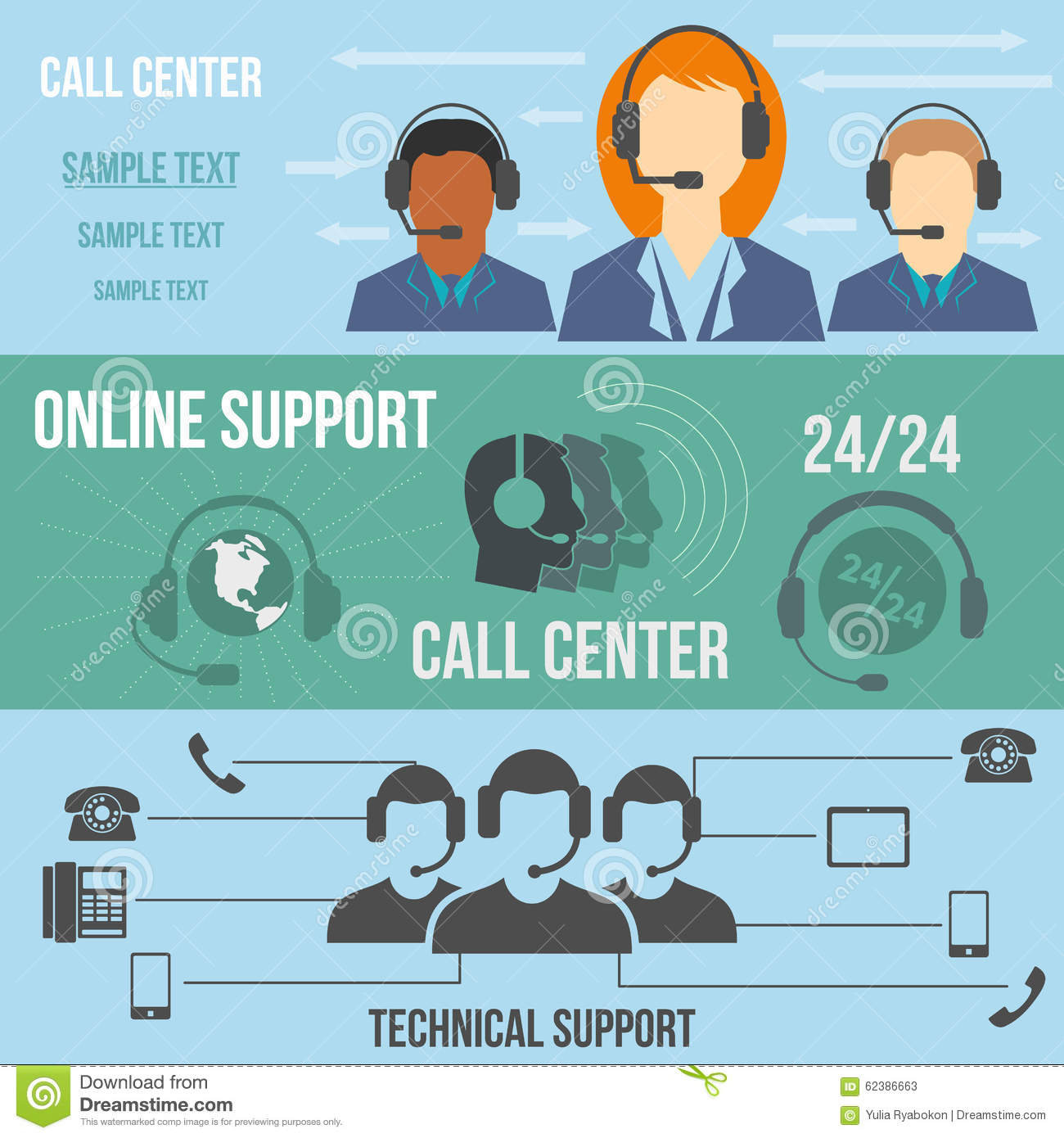 Technical Support Call Center Banners Stock Vector  Image 62386663