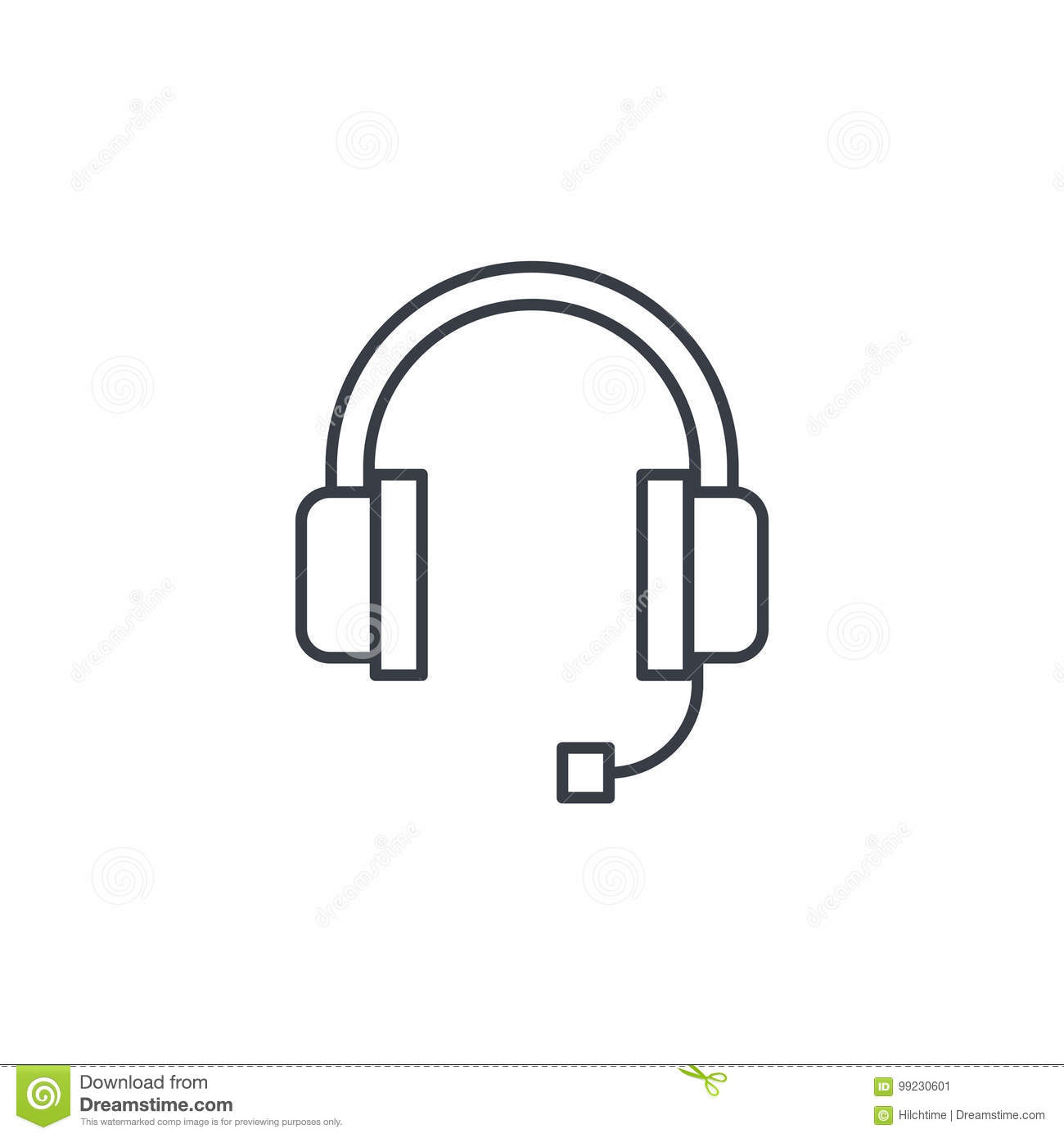 Technical Support Headphones Microphone Operator Thin Line Icon Linear Vector Symbol Stock