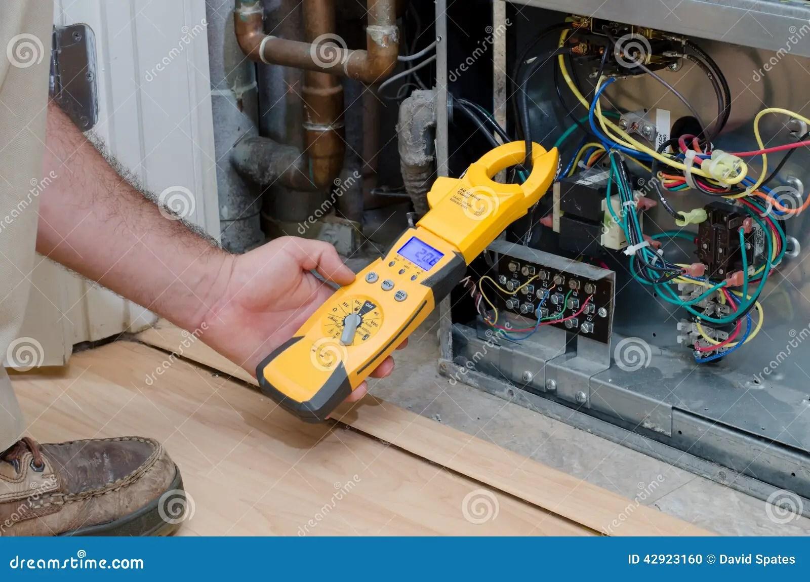 Ac Compressor Wiring Diagram Technician Checking Compressor Amps Stock Photo Image Of