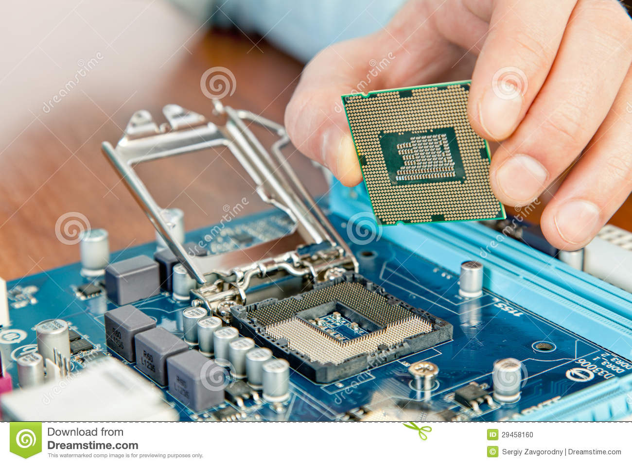 Technician Repairing Computer Hardware In The Lab Stock