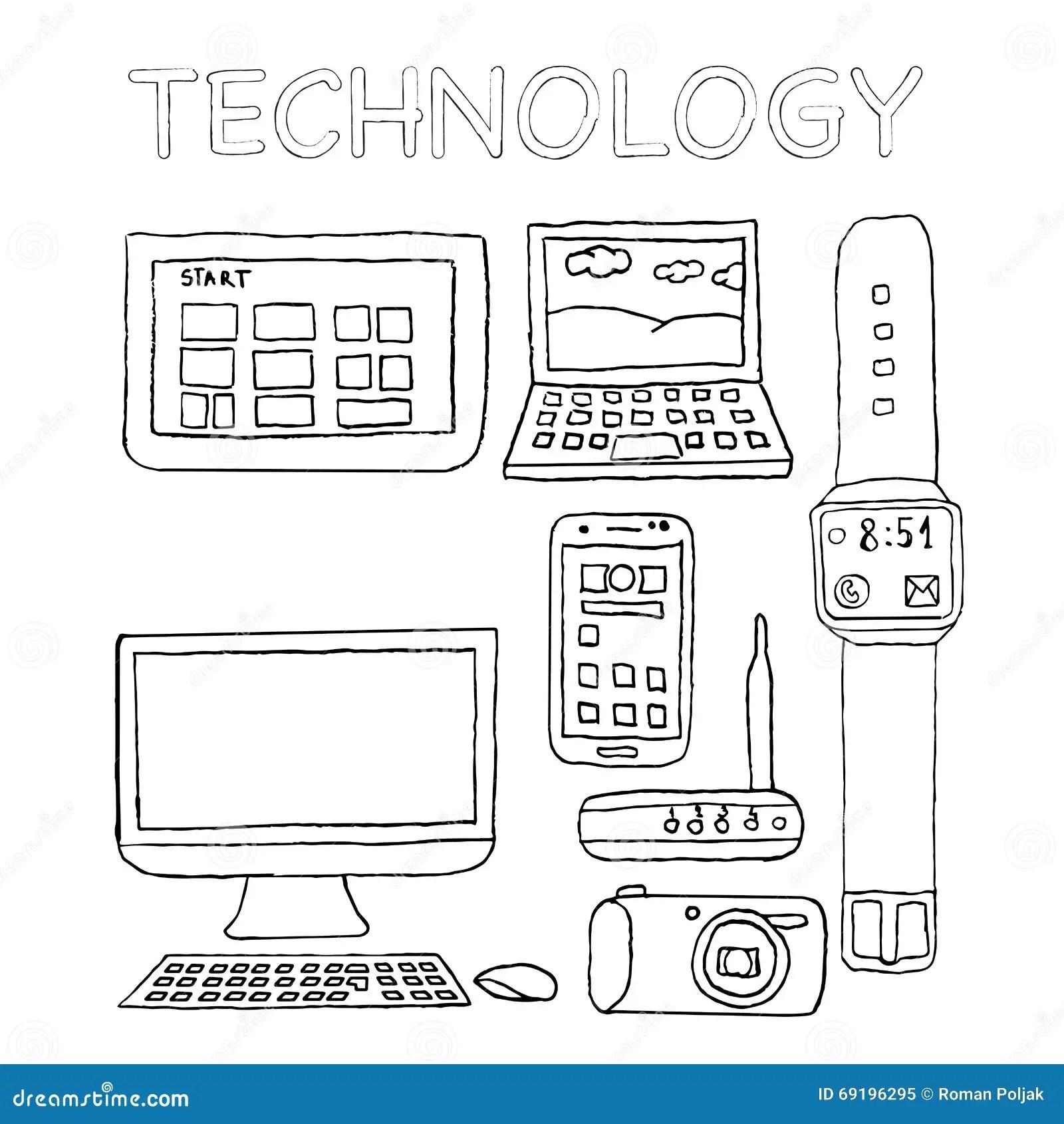 Technologieikonen Hand Gezeichnet Digitalkamera Wifi